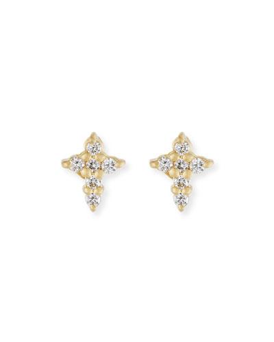 Mini Diamond Cross Stud Earrings