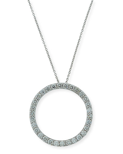 18K White Gold & Diamond Circle Pendant Necklace