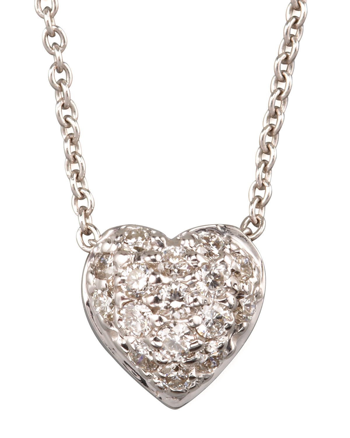Pave Puffed Heart Necklace
