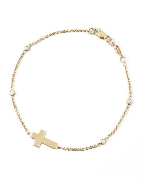 Roberto Coin Integrated Cross Diamond Bracelet, Yellow Gold