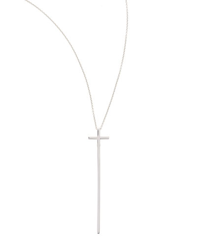 White Gold Elongated Cross Pendant Necklace, 16-18