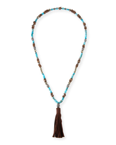 Leighan Turquoise & Brown Suede Necklace