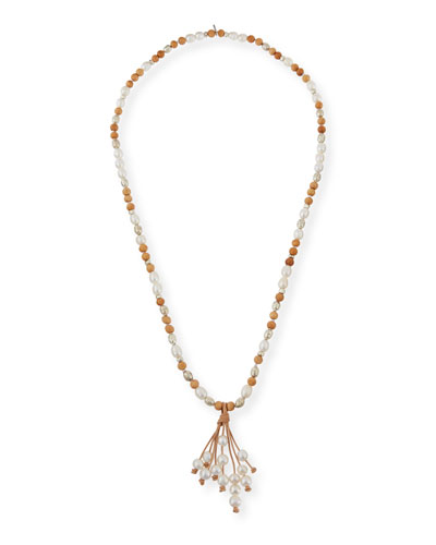 Georgia Pearly Leather Tassel Necklace
