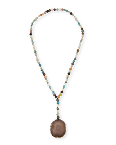 Imogen Beaded Agate Pendant Necklace