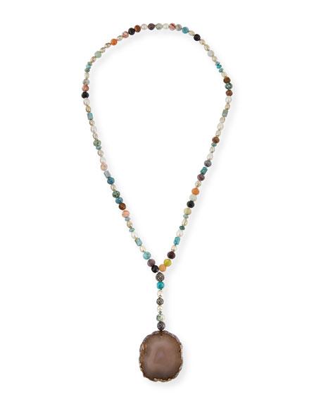 Hipchik Imogen Beaded Agate Pendant Necklace