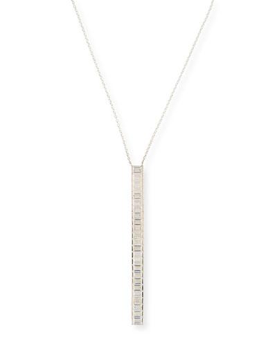 Geneva White Sapphire Vertical Pendant Necklace