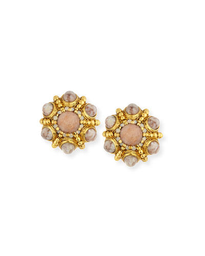 Cabochon Beaded Button Clip Earrings, Beige/Golden