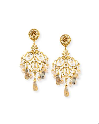 Beaded Agate Chandelier Drop Clip-On Earrings