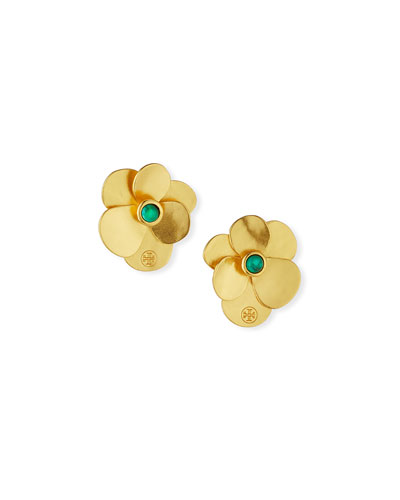 Golden Flower Petal Stud Earrings