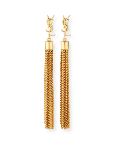 Monogram Small Tassel Chain Earrings
