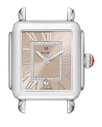 Deco Madison Watch Head with Diamonds, Silver/Beige