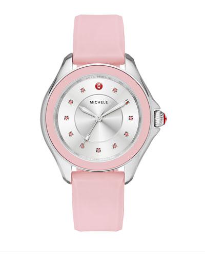 Cape Topaz Watch w/Silicone Strap, Pink