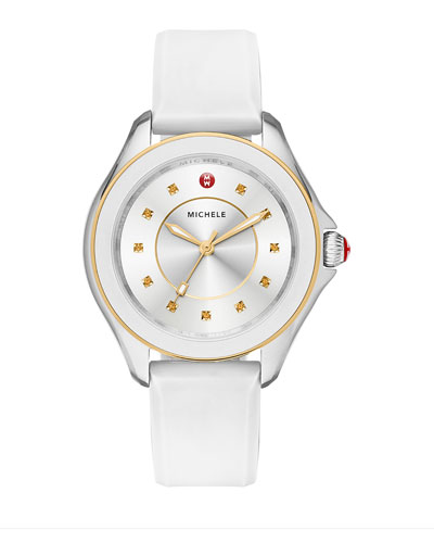 Cape Topaz Watch w/Silicone Strap, White/Golden