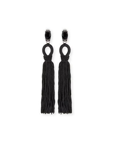 Long Crystal Loop Tassel Clip Earrings, Black
