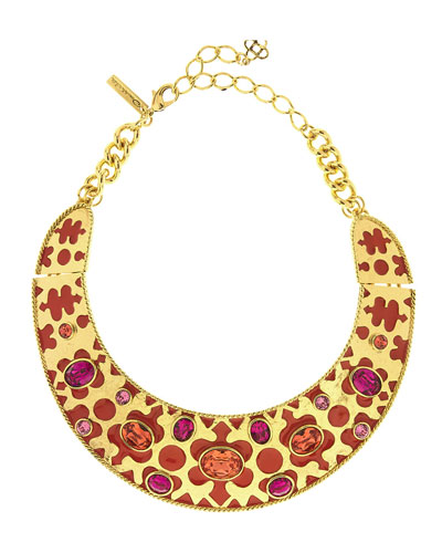 Crystal & Resin Collar Necklace, Red