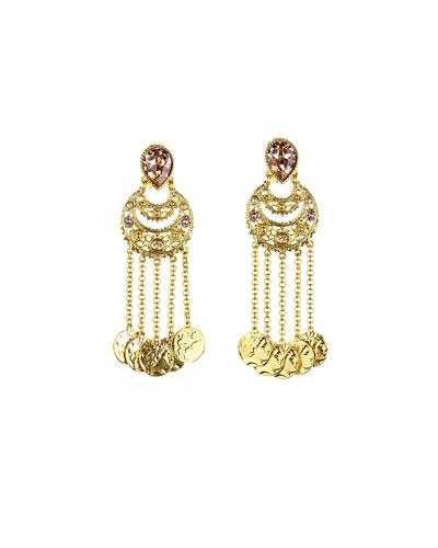 Filigree Coin Drop Clip Earrings