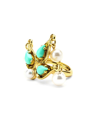 Pearly Cabochon Drop Ring, Golden/Turquoise
