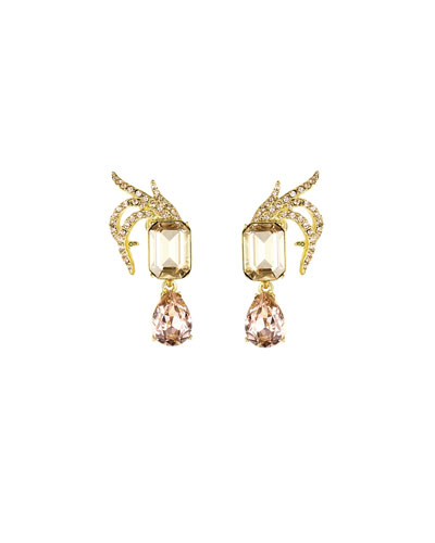 Pave Crystal Leaf Clip Earrings