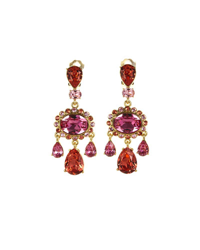 Bold Teardrop Crystal Clip-On Earrings, Pink