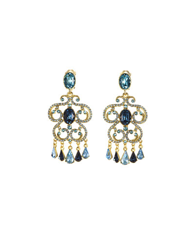 Pavé Crystal Scroll Clip-On Earrings, Blue
