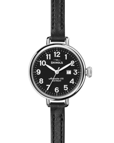 The Birdy 34mm Leather Strap Watch, Black