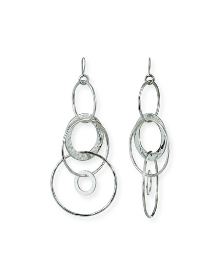 Ippolita 925 Classico Mixed Large Hammered Link Jet Set Earrings