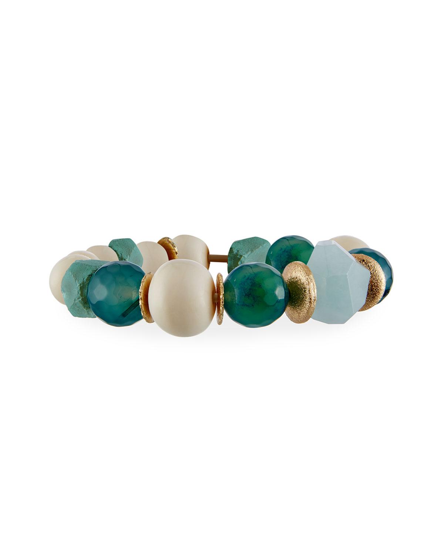 Blue Agate & Bone Bracelet