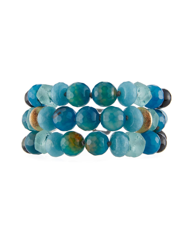 Three-Strand Blue Agate Bracelet