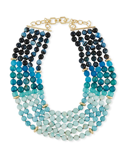 Multi-Strand Necklace, Blue/Multi