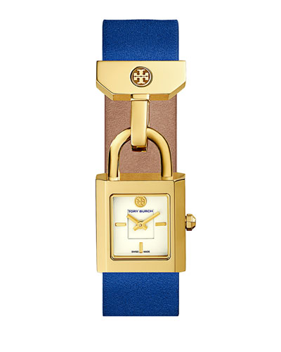 Surrey Leather Padlock Watch, Denim Blue