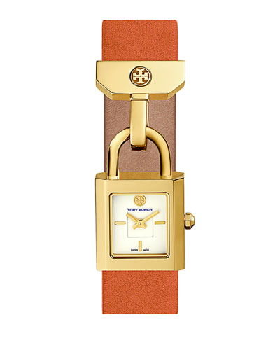 Surrey Leather Padlock Watch, Orange