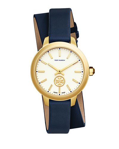 38mm Collins Double-Wrap Leather Strap Watch, Tory Navy