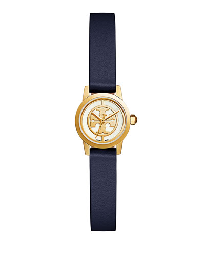 20.5mm Reva Leather Strap Watch, Tory Navy