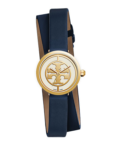 38mm Reva Double-Wrap Leather Strap Watch, Tory Navy
