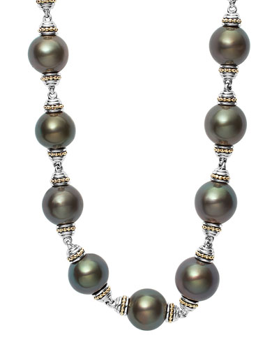 Luna Sterling Silver Tahitian Pearl Necklace, 18
