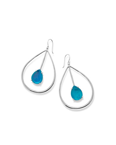 925 Wonderland Large Pear Drop Earrings, Bright Blue