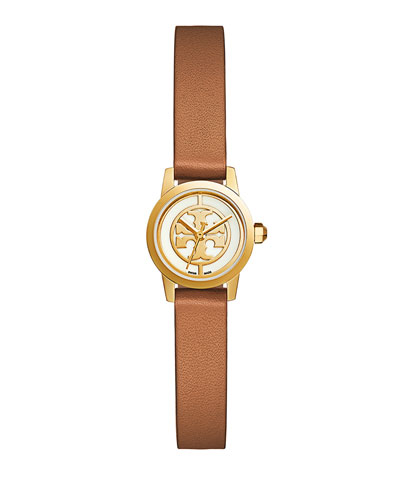 38mm Reva Leather Strap Watch, Luggage Brown