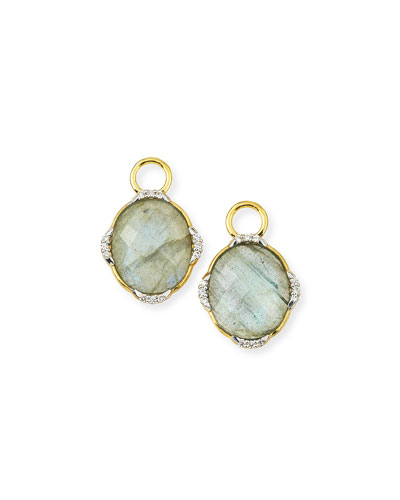 Lisse 18K Oval Labradorite Earring Charms with Diamonds