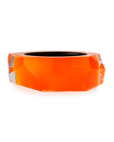 Faceted Lucite Bangle Bracelet, Orange