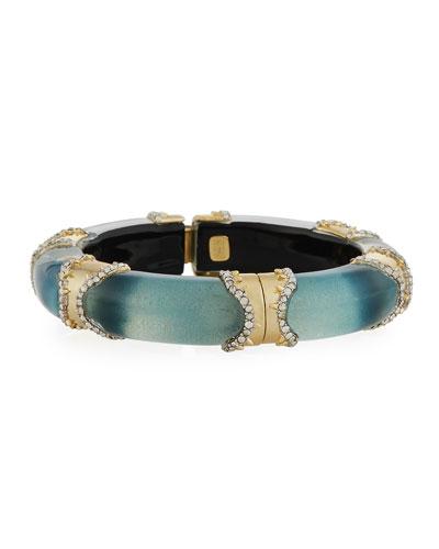 Metal/Lucite Pave Hinge Bracelet, Blue