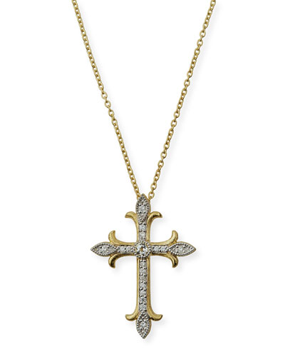 Provence 18K Fleur Cross Topaz & Diamond Pendant Necklace