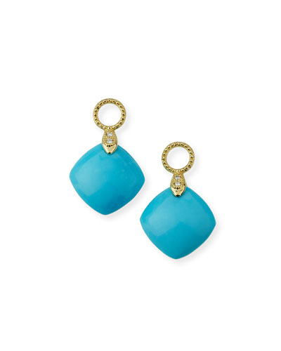 Lisse 18K Turquoise Cushion Earring Charms with Diamonds
