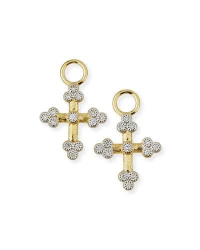 Provence 18K Tiny Cross Earring Charms with Diamonds