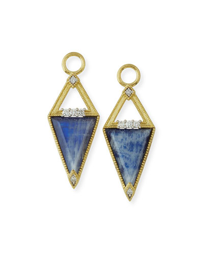 Lisse 18K Small Sapphire Trillion Earring Charms with Diamonds