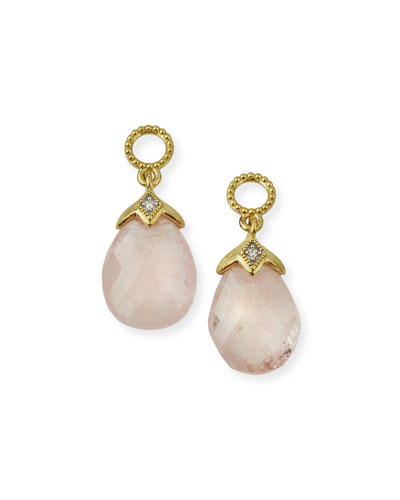 Lisse 18K Morganite Briolette Earring Charms with Diamonds