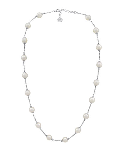 8mm Simulated Pearl Station Necklace, 16