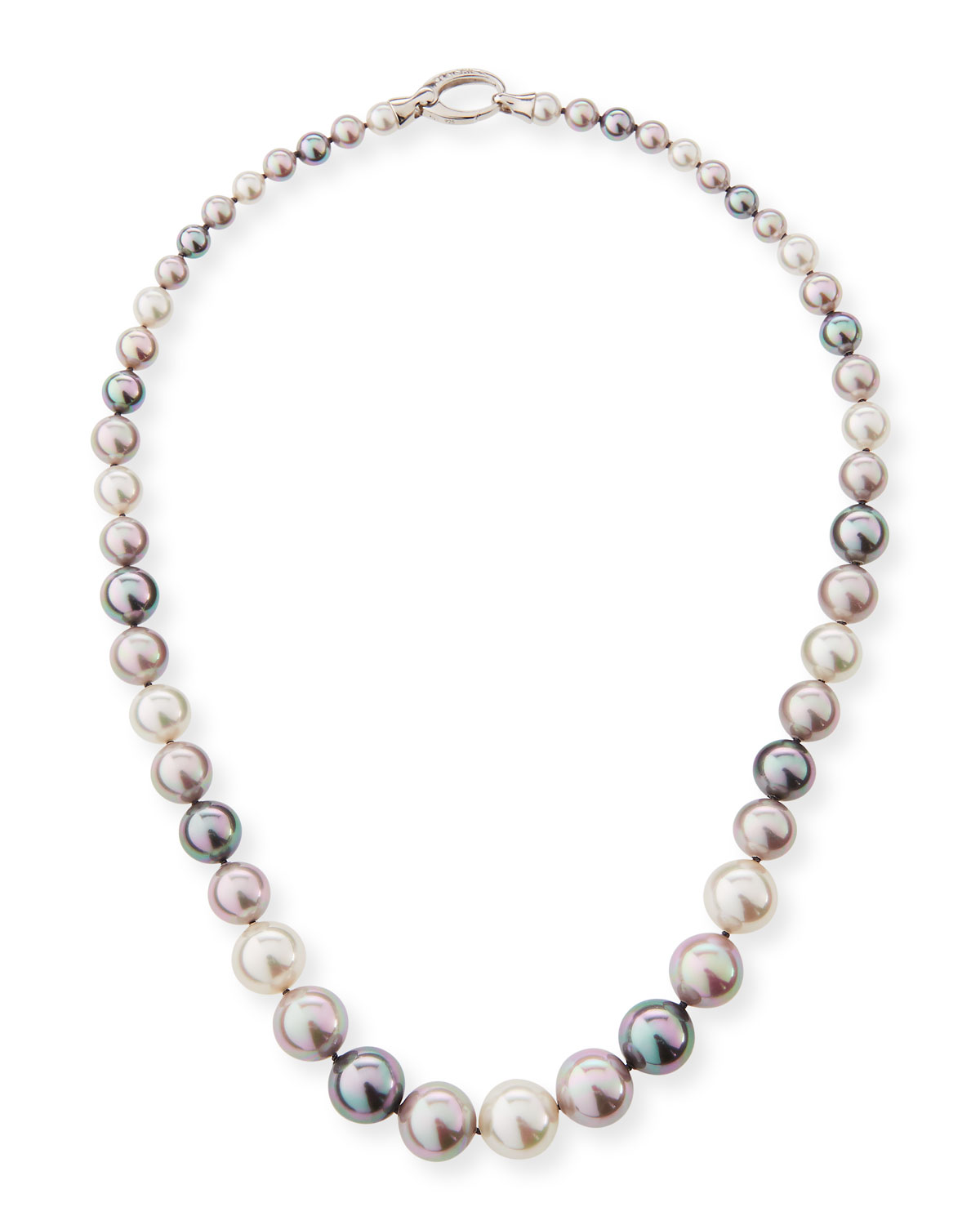 Graduated White, Gray & Nuage Pearl Necklace, 18