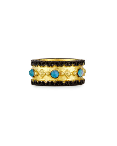 Old World Wide Band Ring with Neon Apatite & White Quartz, Size 7
