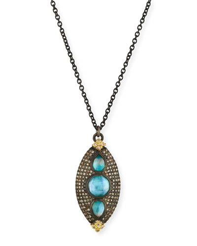 Old World Marquis Peruvian Opal Triplet Necklace with Diamonds