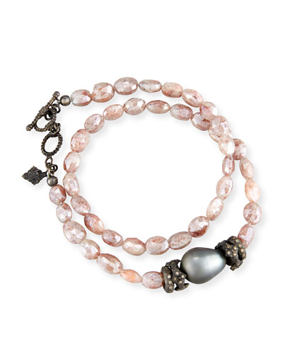 Peach Mystic Moonstone & Tahitian Pearl Bracelet with Diamonds